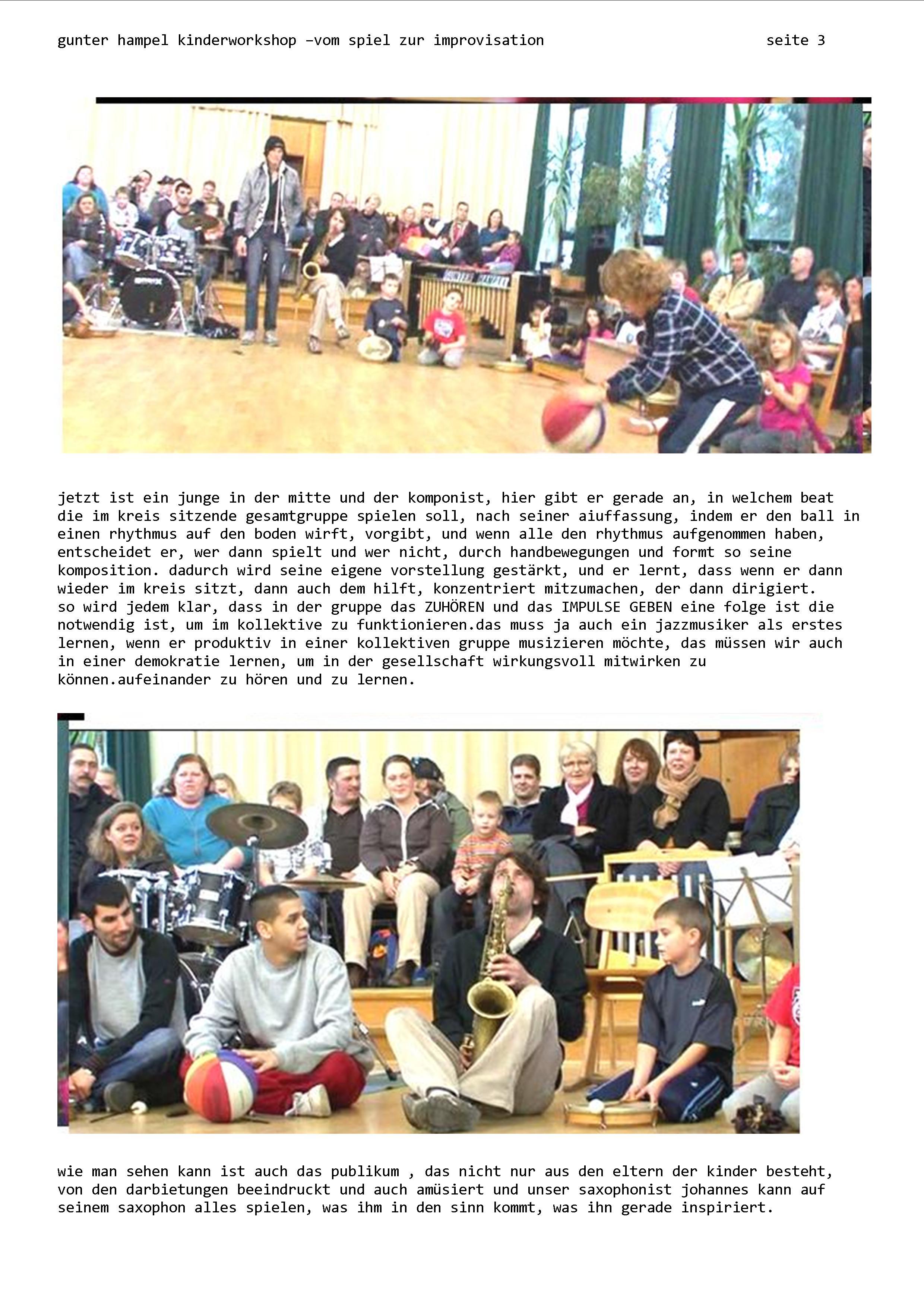 CHILDREN WORKSHOPS KINDER | the music of gunter hampel
