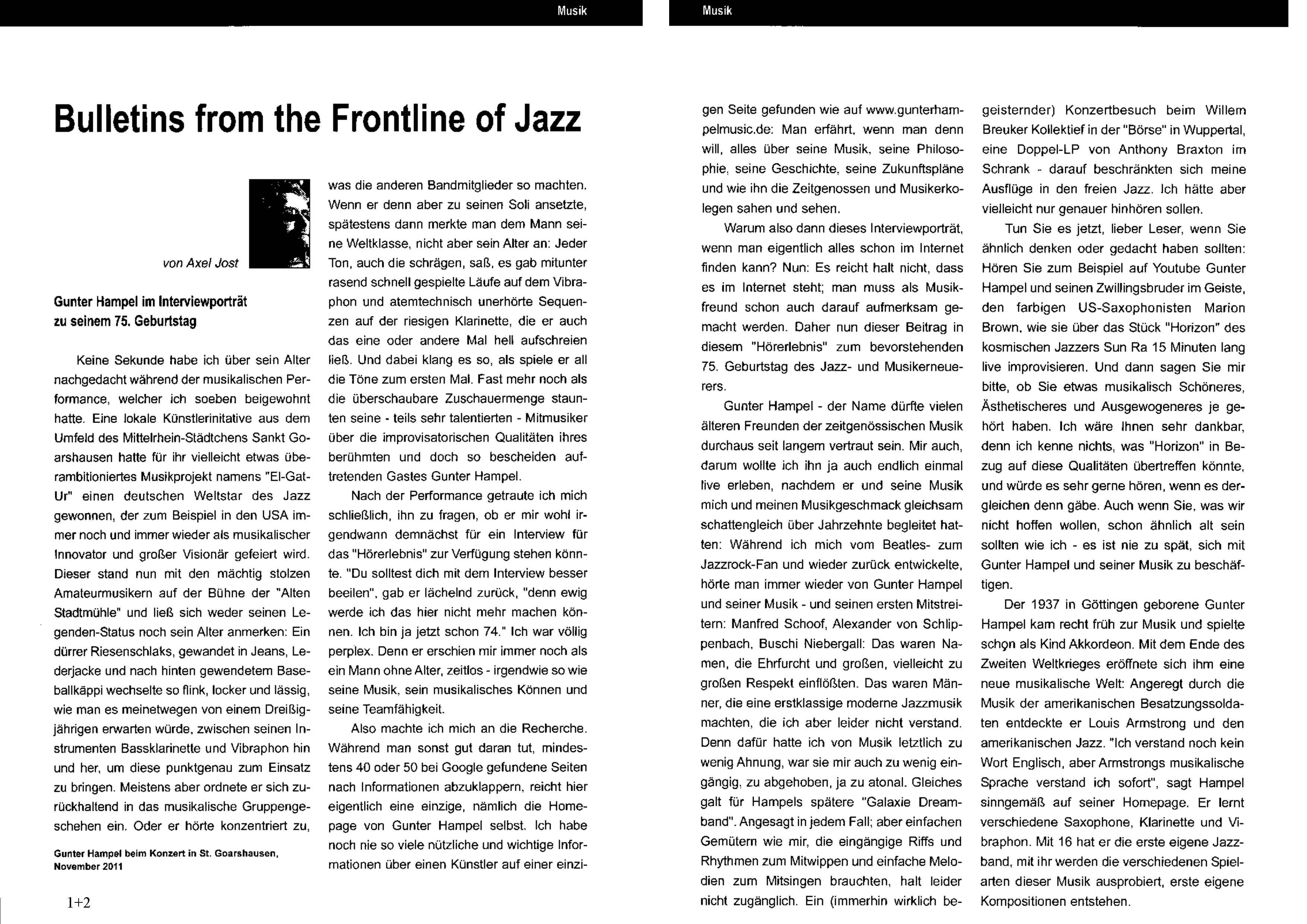 BULLETINS FROM THE FRONTLINE OF JAZZ